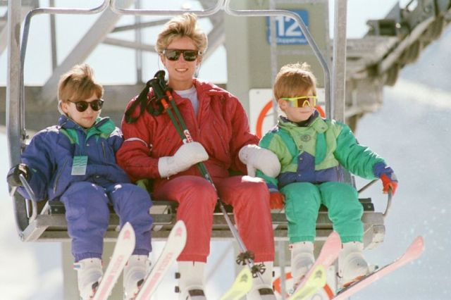 HRH The Princess Of Wales Princess Diana And Her sons William And Harry On A Ski holiday To Switze